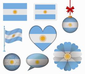 Argentina flag set of 8 items vector