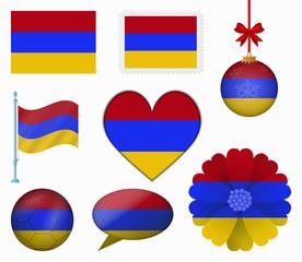 Armenia flag set of 8 items vector