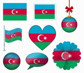 Azerbaijan flag set of 8 items vector