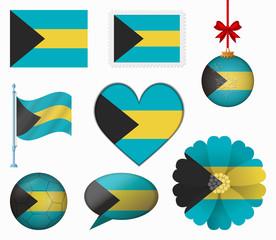 Bahamas flag set of 8 items vector