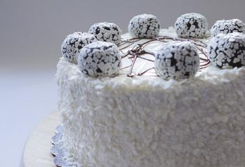White cake with chocolate