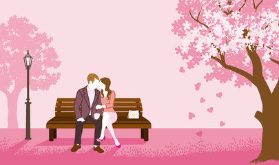 Couple sitting on a Bench- Pink color