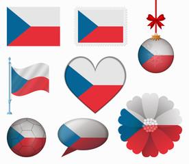 Czech flag set of 8 items vector