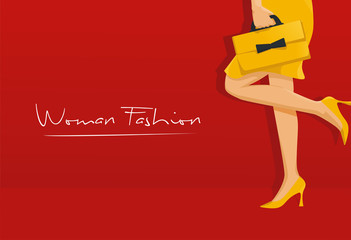 Woman fashion high heels bag vector logo illustration
