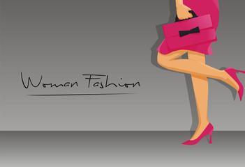 Woman fashion high heels bag vector logo illustration