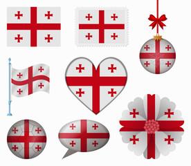 Georgia flag set of 8 items vector