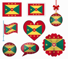 Grenada flag set of 8 items vector