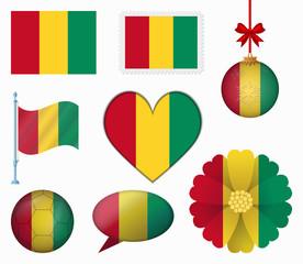 Guinea flag set of 8 items vector