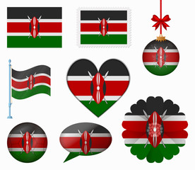 Kenya flag set of 8 items vector