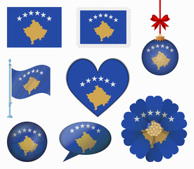 Kosovo flag set of 8 items vector