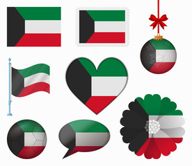 Kuwait flag set of 8 items vector