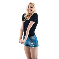 Stunning tall blond girl is amazingly happy and smiling