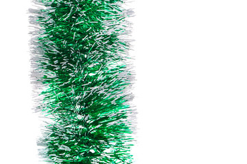 Green tinsel with stars.