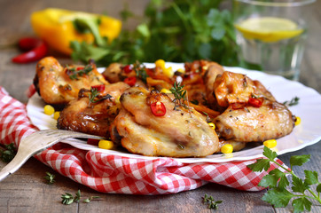 Roasted spicy chicken wings.