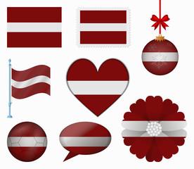 Latvia flag set of 8 items vector