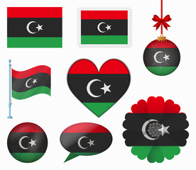 Libya flag set of 8 items vector