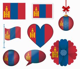 Mongolia flag set of 8 items vector