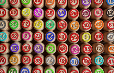 Background, numbers on a wooden barrels, Lotto