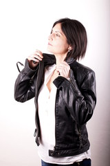 Woman with black leather jacket