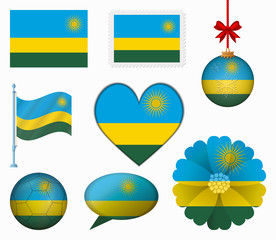 Rwanda flag set of 8 items vector