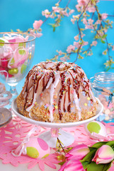 easter table with ring cake