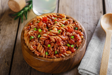 pasta fusilli with minced meat and tomato sauce