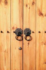 wood door with door knocker at Seoul, South Korea
