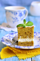 Carrot cake with butter and ricotta cream.