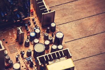 Microchips in old circuit board printed circuit board.