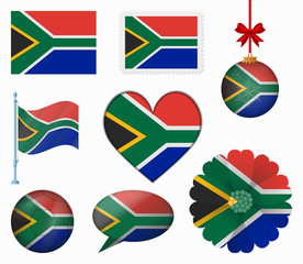 South Africa flag set of 8 items vector