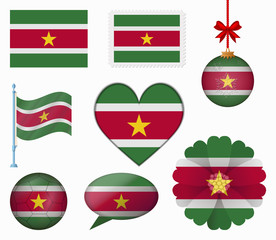 Suriname flag set of 8 items vector