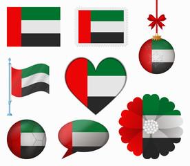 United Arab Emirates flag set of 8 items vector
