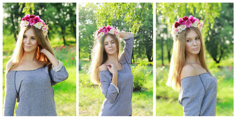 collage of beautiful  woman in nature