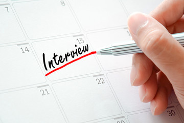 Interview text on the calendar (or desk planner)