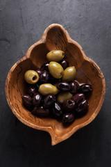 Top shot of appetizer starter olives in a bowl