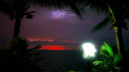 Evening mood in Koh Samui view on sky, lantern and palm. Video