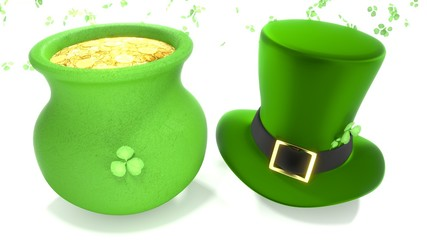 Saint Patrick's day Hat and pot of gold