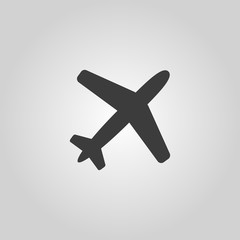 The plane icon. Travel symbol. Flat