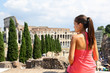 Italy travel - Woman tourist at Coliseum, Rome