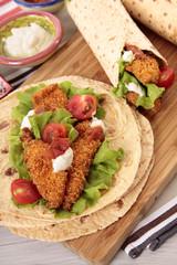 Chicken fajita with tortilla