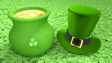 Saint Patrick's Day hat and pot of coins