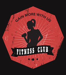 Grunge fitness club emblem with athletic girl