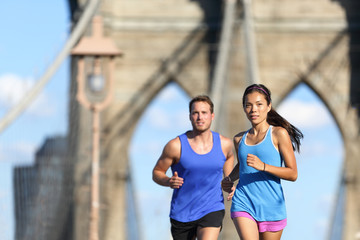 Urban runners running people in New York City NYC