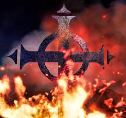 Ghotic cross on fire