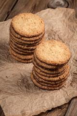 Oatmeal cookies in chocolate sauce.