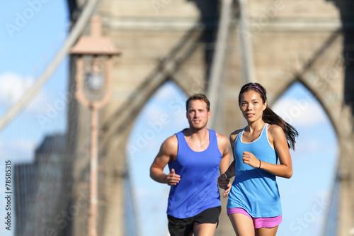 Fototapeta Urban runners running people in New York City NYC