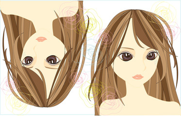Stylish girl with cute line design, create by vector