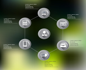 Infographic scheme of business workflow with abstract background