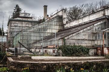 Old greenhouse in botanical garden in Graz.Austria.