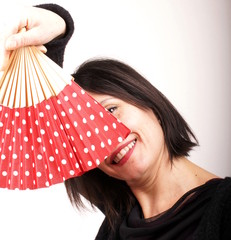 Woman with red fan
